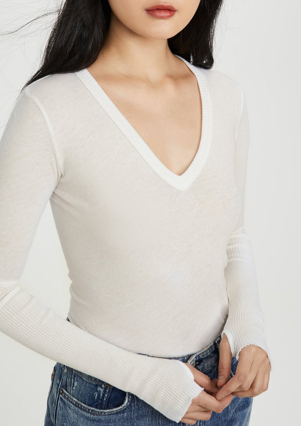Cashmere Cuffed V Neck Sweater - White - house of lolo