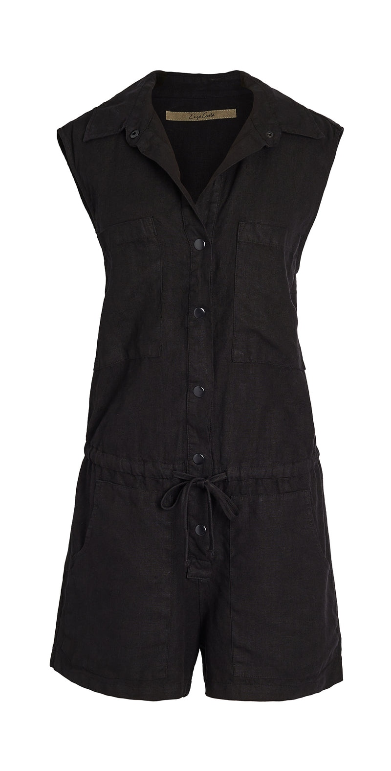 Hemp Sleeveless Romper - Black - house of lolo