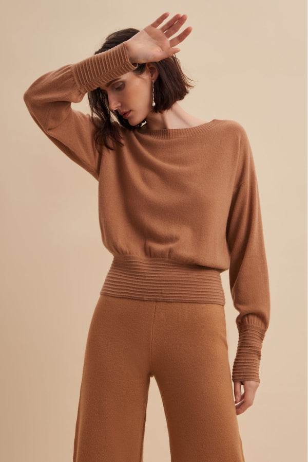 Ramona Crew Neck - Camel - house of lolo