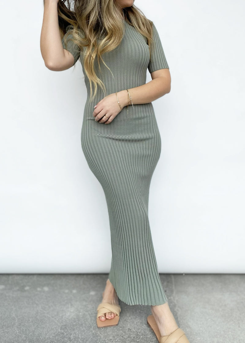 White Water SS Midi Dress - Sage - house of lolo