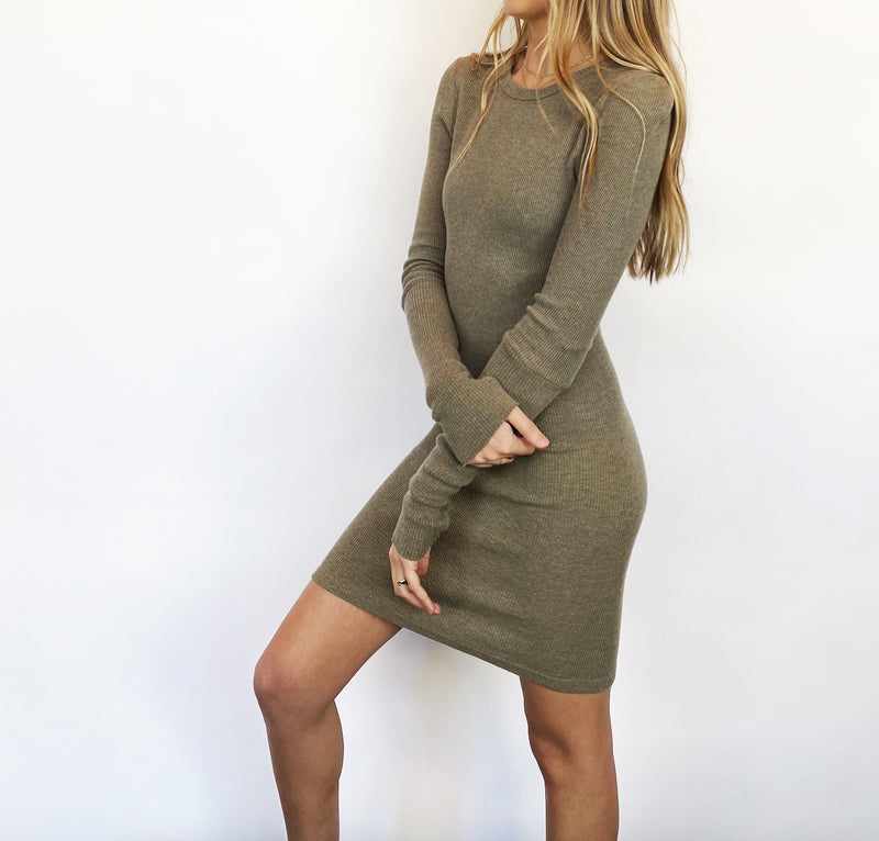 Cashmere Thermal Mini Dress - Pebble - house of lolo
