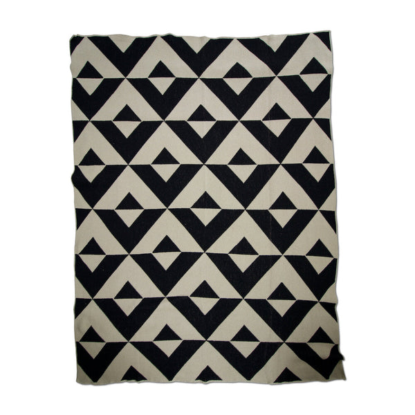 Reverse Black/Linen Recycled Cotton Throw
