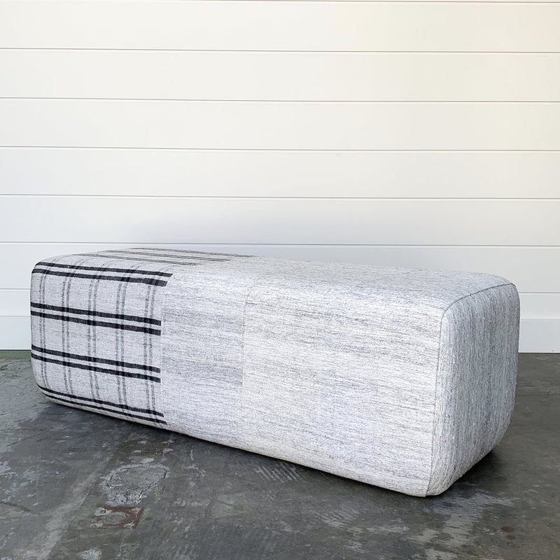 Multi-Stripe Rug Ottoman - house of lolo