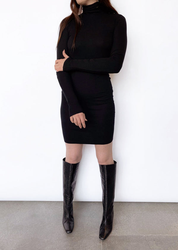 Rib L/S Turtleneck Mini Dress - Black - house of lolo