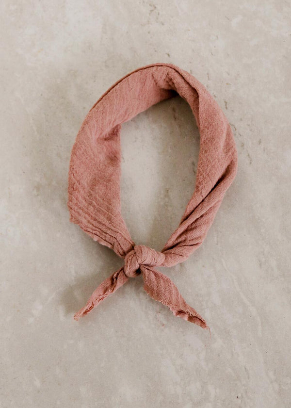 Linen Plant Dyed Bandana, Mauve Cotton Gauze - house of lolo