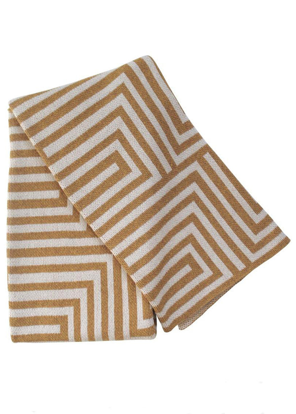 Maze Ochre/Linen Recycled Cotton Throw - house of lolo