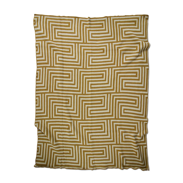 Maze Ochre/Linen Recycled Cotton Throw