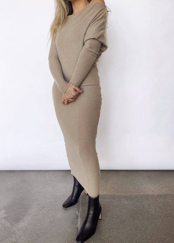 Sweater Knit Slouch Dress - Taupe - house of lolo