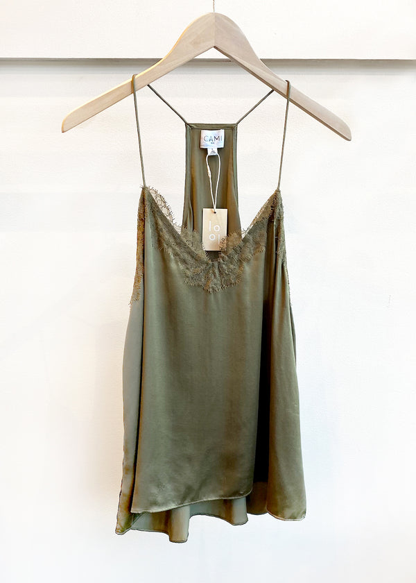 Racer Back Charmeuse Cami - Olive - house of lolo