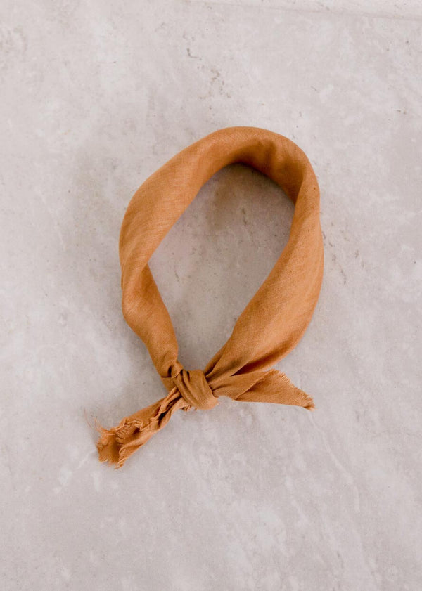 Linen Plant Dyed Bandana, Rust - house of lolo