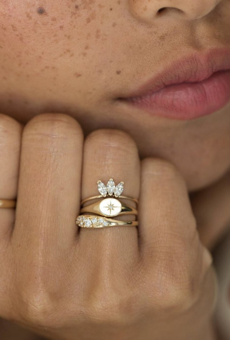 Baby Signet Diamond Ring - house of lolo