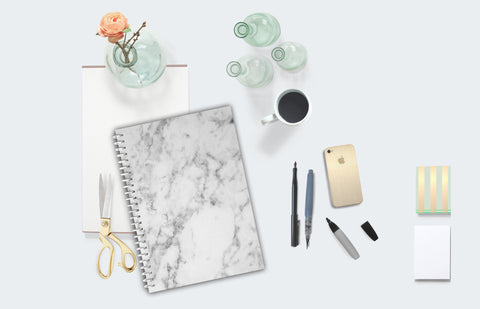 White Marble Notebook - made x mel