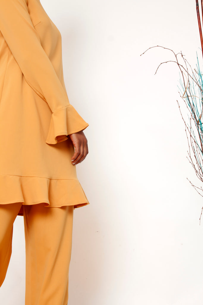 Golden Ruffle  Dress (Pre-Order)