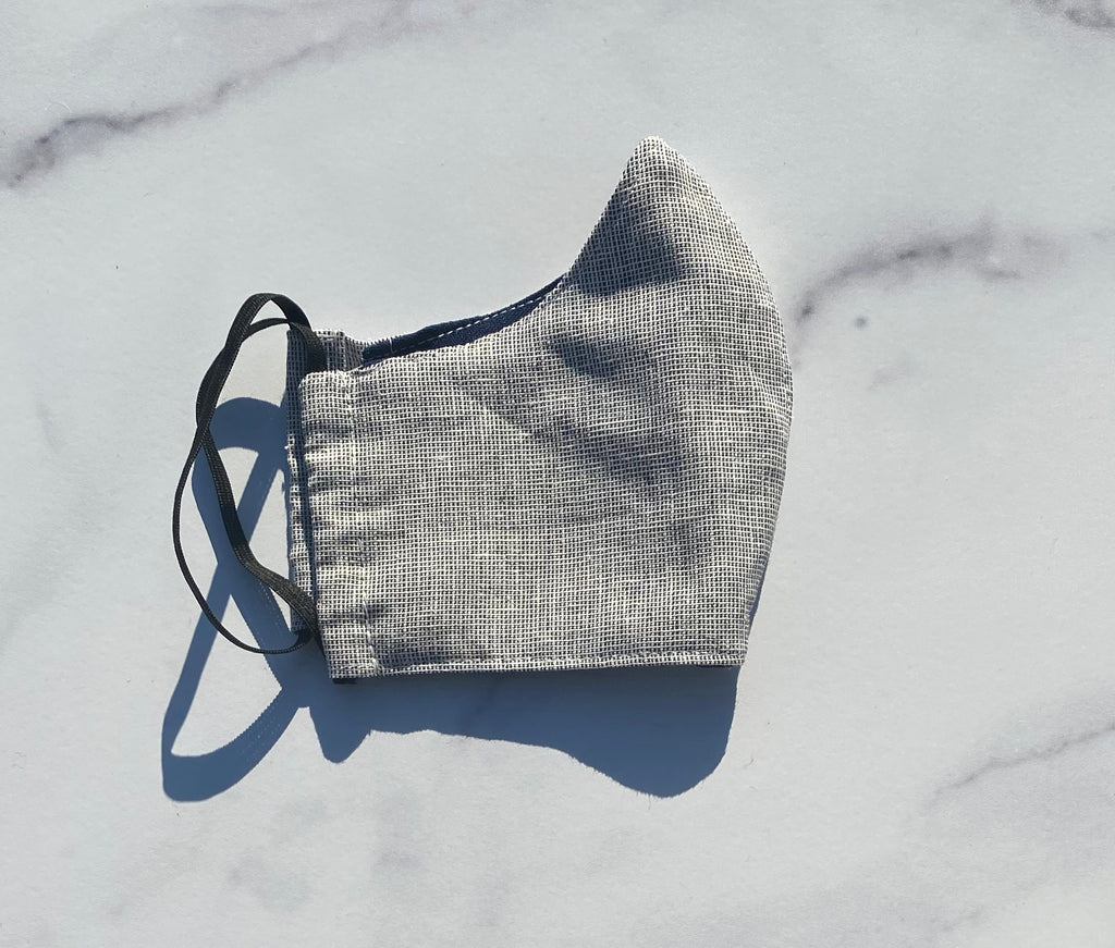 Navy/White Linen Face Mask