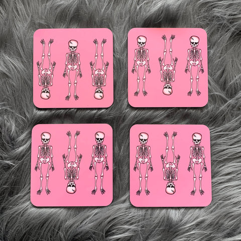 Pink Skeleton Coasters (Set of 4)