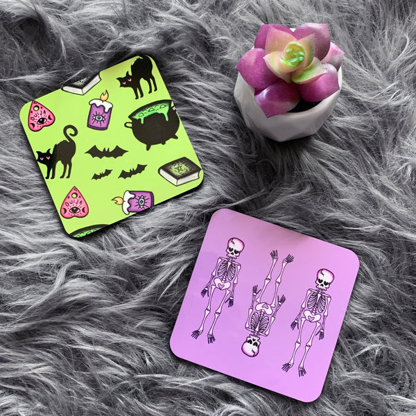 Purple Skeleton Coasters (Set of 4)