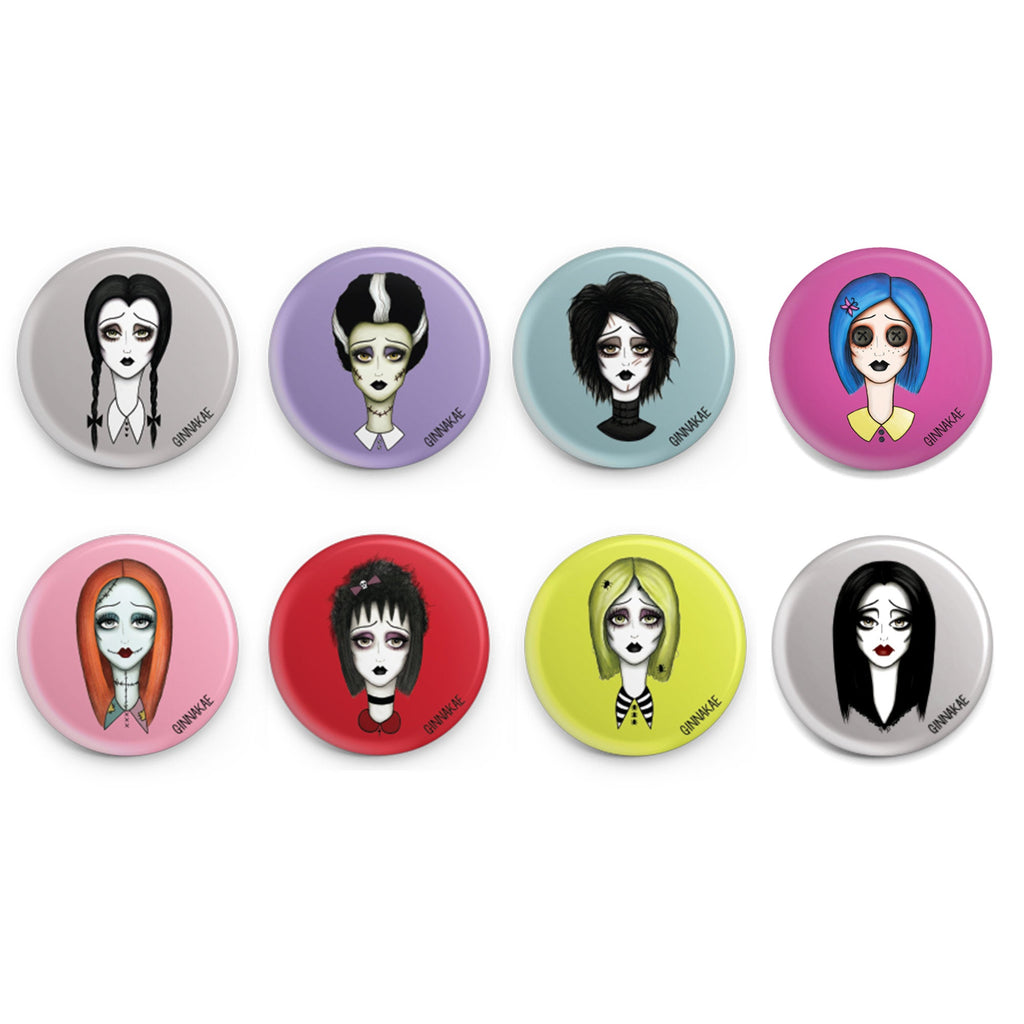 Spooky Girl Button Pins