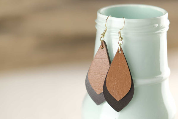 Leather Droplet Earrings