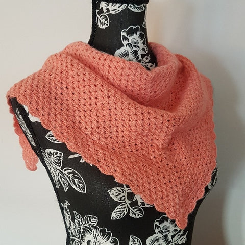 007 Alpaca Shawl with Tie - Salmon Color - Country Gables Ltd (alpaca farm)
