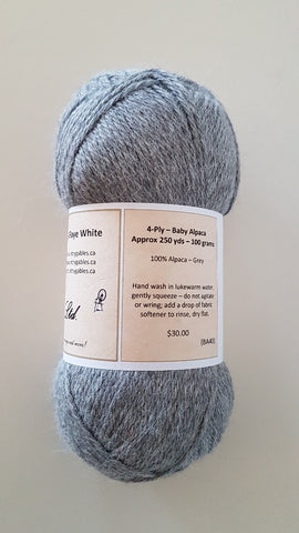 BA40 Luxurious Grey Baby Alpaca Yarn (100%) - Country Gables Ltd (alpaca farm)