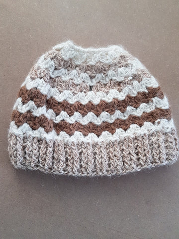 H010 Alpaca Ponytail Hat - Country Gables Ltd (alpaca farm)