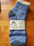 CGD625 Alpaca Thermal Slipper Sock Blue Stripe LM - Country Gables Ltd (alpaca farm)