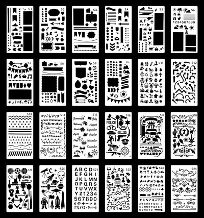 Bullet Journal Stencil Set - Pack of 24 - Wanderings