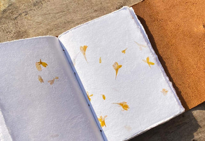 Vintage Leather Journal with Deckle Edge Flower Petal Embedded Paper
