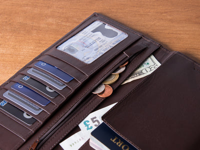 Dwellbee Tall Leather Travel Document Organizer - Wanderings