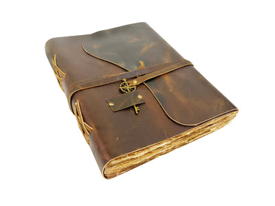 Large Vintage Leather Journal - 8.5x11""