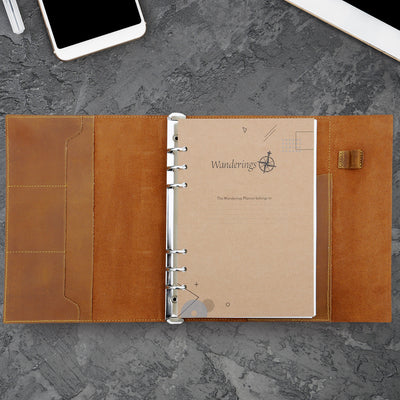 A5 Leather 6-Ring Binder Journal