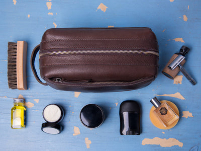Dwellbee Premium Top Grain Leather Toiletry Bag and Dopp Kit with TSA Approved LokSak Waterproof Bag - Wanderings