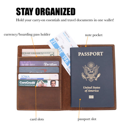 Leather Passport Holder Travel Wallet - RFID Blocking Genuine Leather Travel Wallet for Men and Women - Wanderings