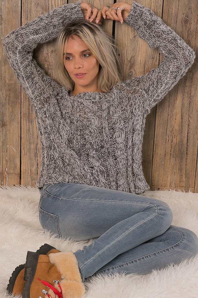 Women's Jax Cropped Marl Cable Sweater's | Wooden Ships Knits