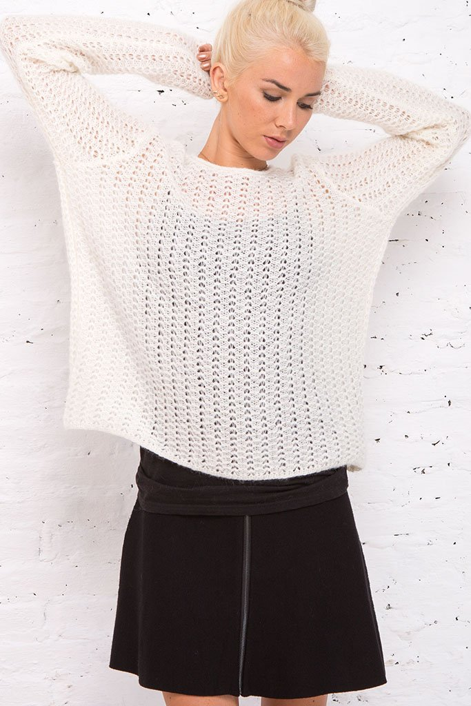 Women's Braided Knit Crewneck Sweater | Wooden Ships Knits