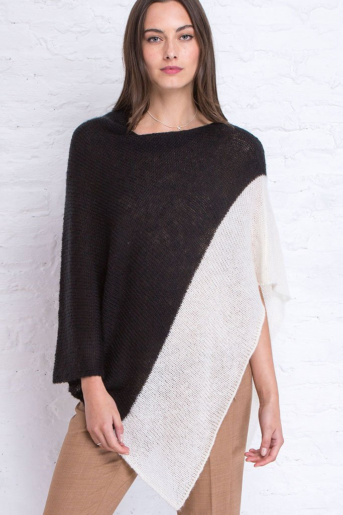 Women's Colorblock Poncho Sweater | Wooden Ships Knits