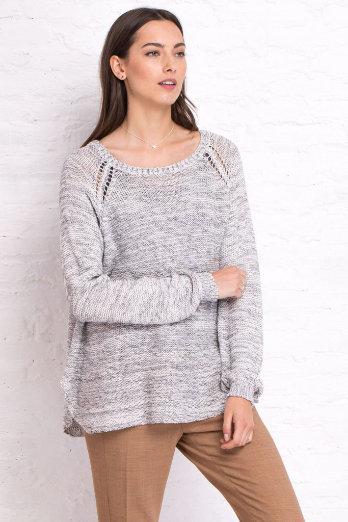 REVERSIBLE CECILY HEATHERED RAGLAN COTTON