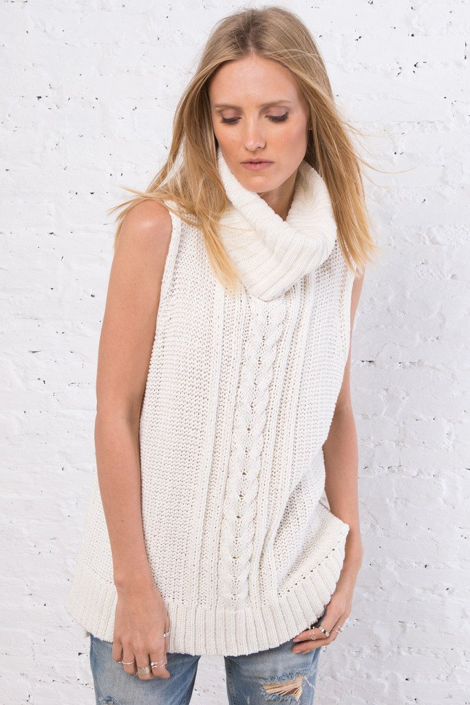 Women's Anika Cable Cowl Vest Cotton Sweater | Wooden Ships Knits