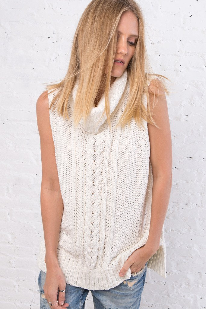 Women's Anika Cotton Cable Cowl Vest | Wooden Ships Knits