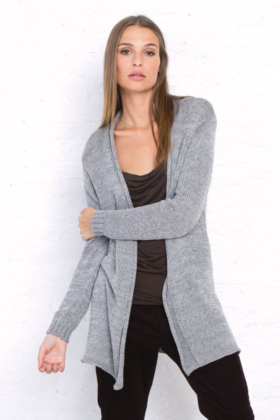 Women's Long Heathered Cardigan Sweater | Wooden Ships Knits