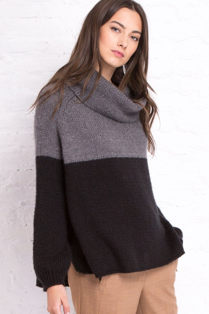 Women's Colorblock Cowl Turtleneck Sweater | Wooden Ships Knits