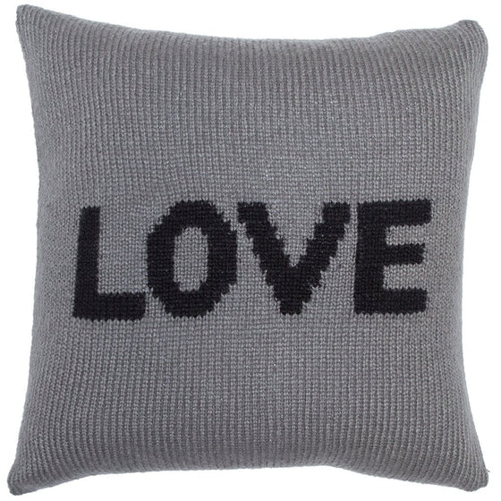 Love (Caps) Knit Pillow Cover 18"
