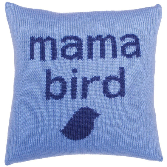 Mama Bird Knit Pillow Cover 18"