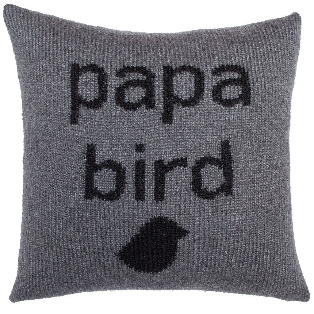 Papa Bird Knit Pillow Cover 18"
