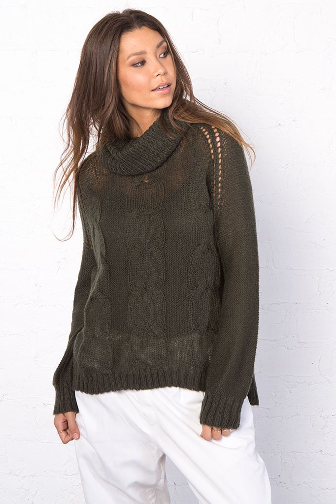 Women's Boyfriend Cable Turtleneck Pullover Sweater | Wooden Ships Knits