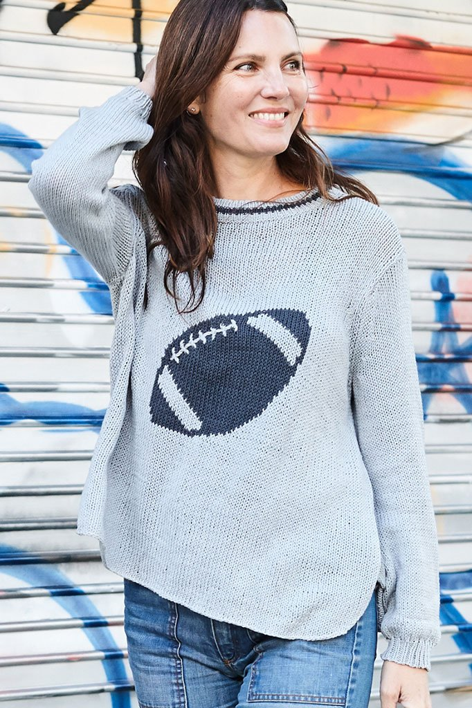 Women's Football Crewneck Cotton Sweater's | Wooden Ships Knits