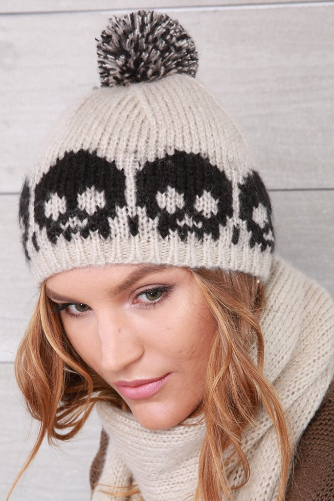 Women's Skull Pom Pom Beanie Accessories | Wooden Ships Knits