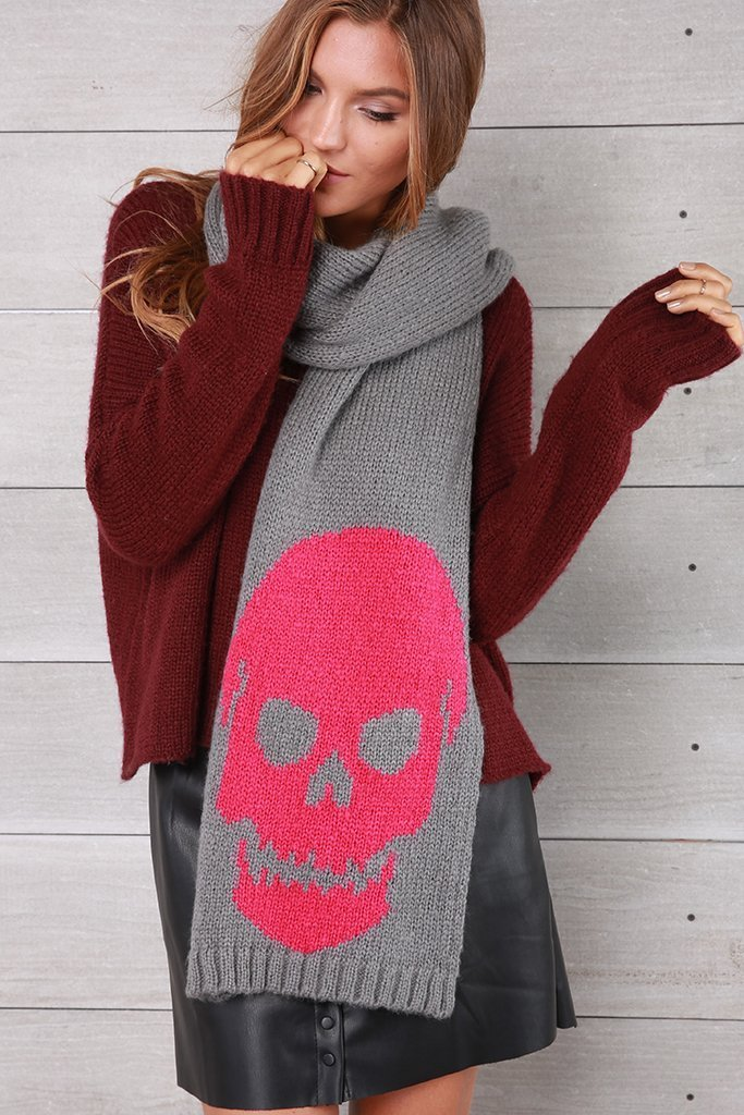 Women's Big Skull Scarf Accessories | Wooden Ships Knits
