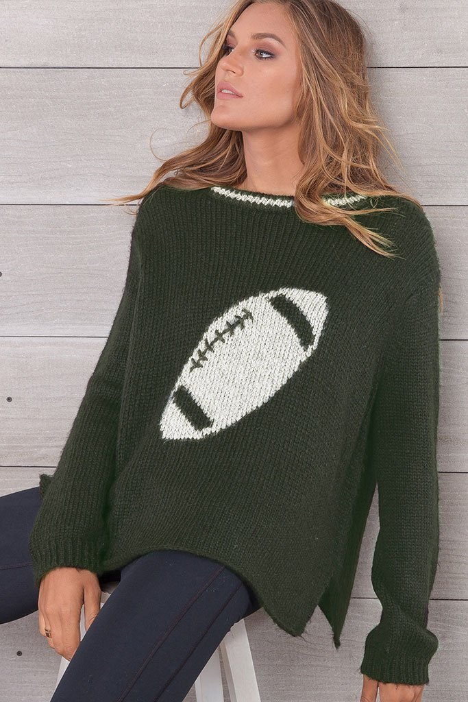 Women's Football Crewneck Chunky Sweater's | Wooden Ships Knits