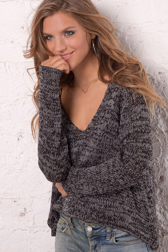 Women's Boxy V-Neck Marled Cotton Sweater | Wooden Ships Knits